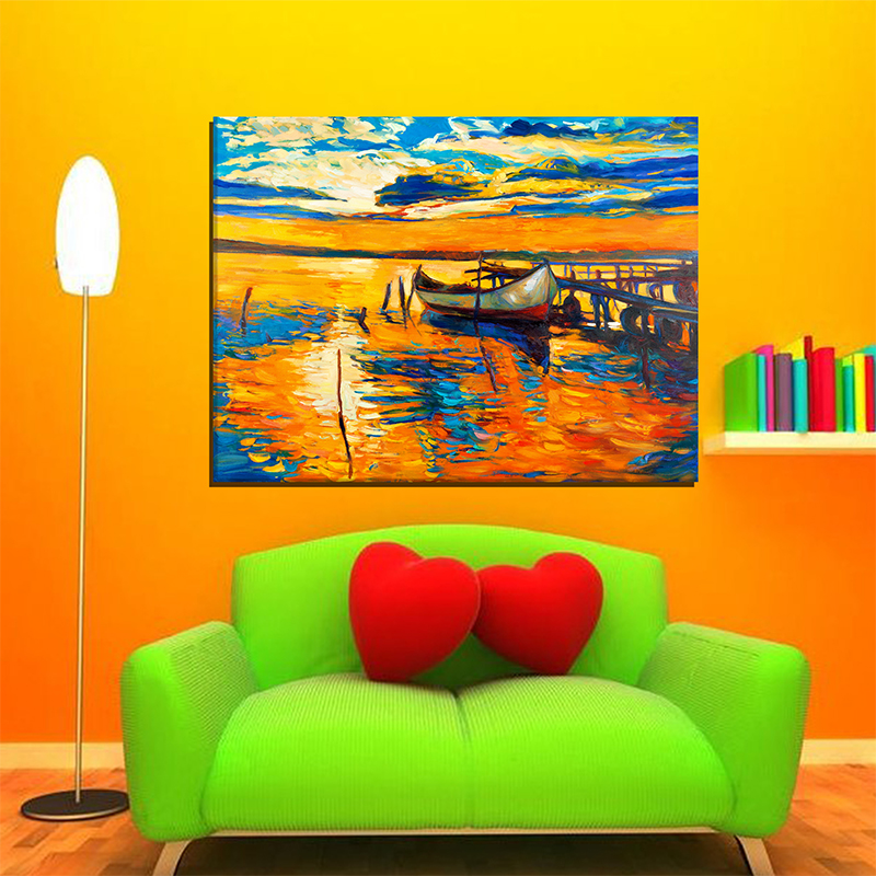 Modern Abstract Classic Setting Sun Ship Ocean Canvas Art Painting Poster Wall Picture  1