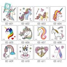 New Arrival 2018 Mini Unicorn Horse Tattoo Design For Boys Girls Kids Waterproof Temporary Tattoo Sticker For Children