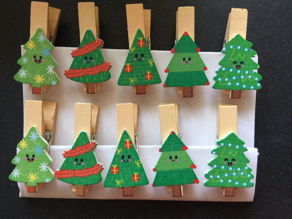 Pcs christmas tree design paper wood clip wooden pegs fashion