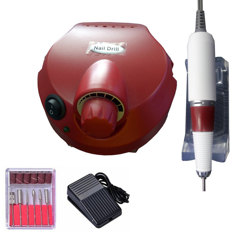 ✓REBUNE Red Pro 35000RPM Electric Nail Machine Set 110/220V Nail ...