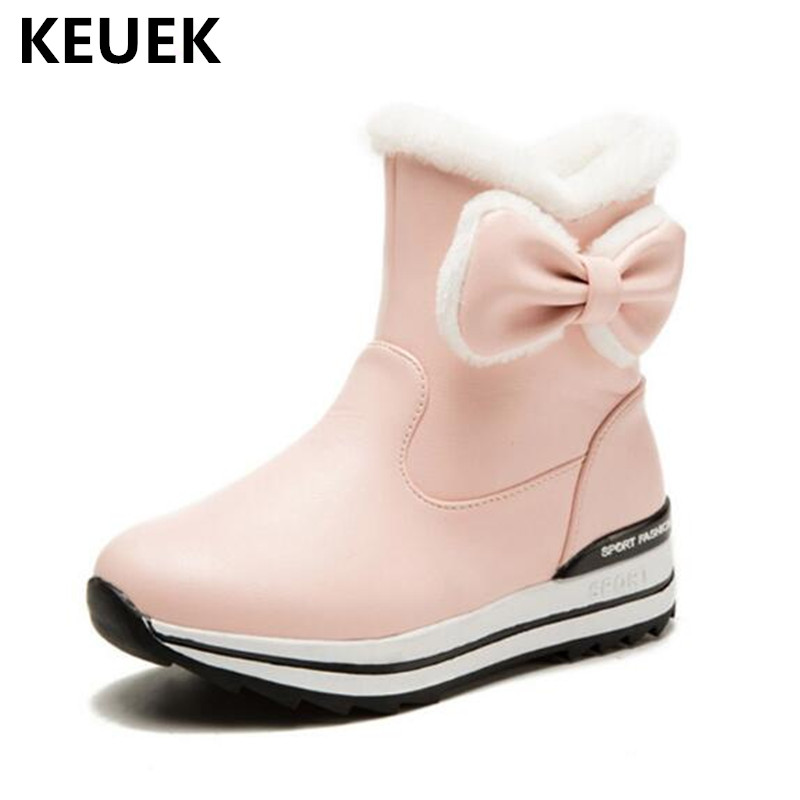 New Children Ankle Boots Girls Snow Boots Kids Princess Thick Plush Waterproof Student Leather Boots Winter Shoes 041 new winter snow boots children girls genuine leather boots princess student warm with plush toddler shoes kids 041