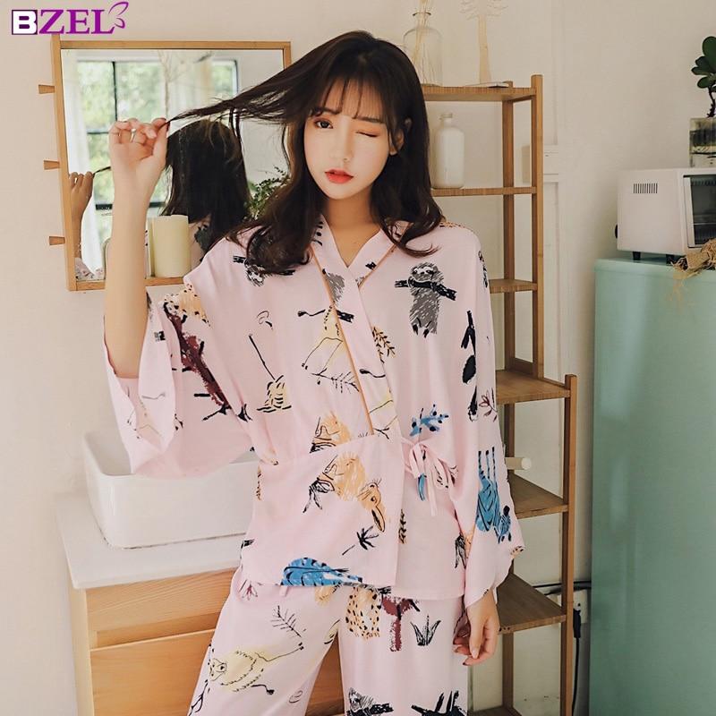 2019 New Women   Pajamas     Sets   Cotton Simple Kimono Nightgown Sleepwear Bathrobe Leisure Wear Homewear Home Clothing