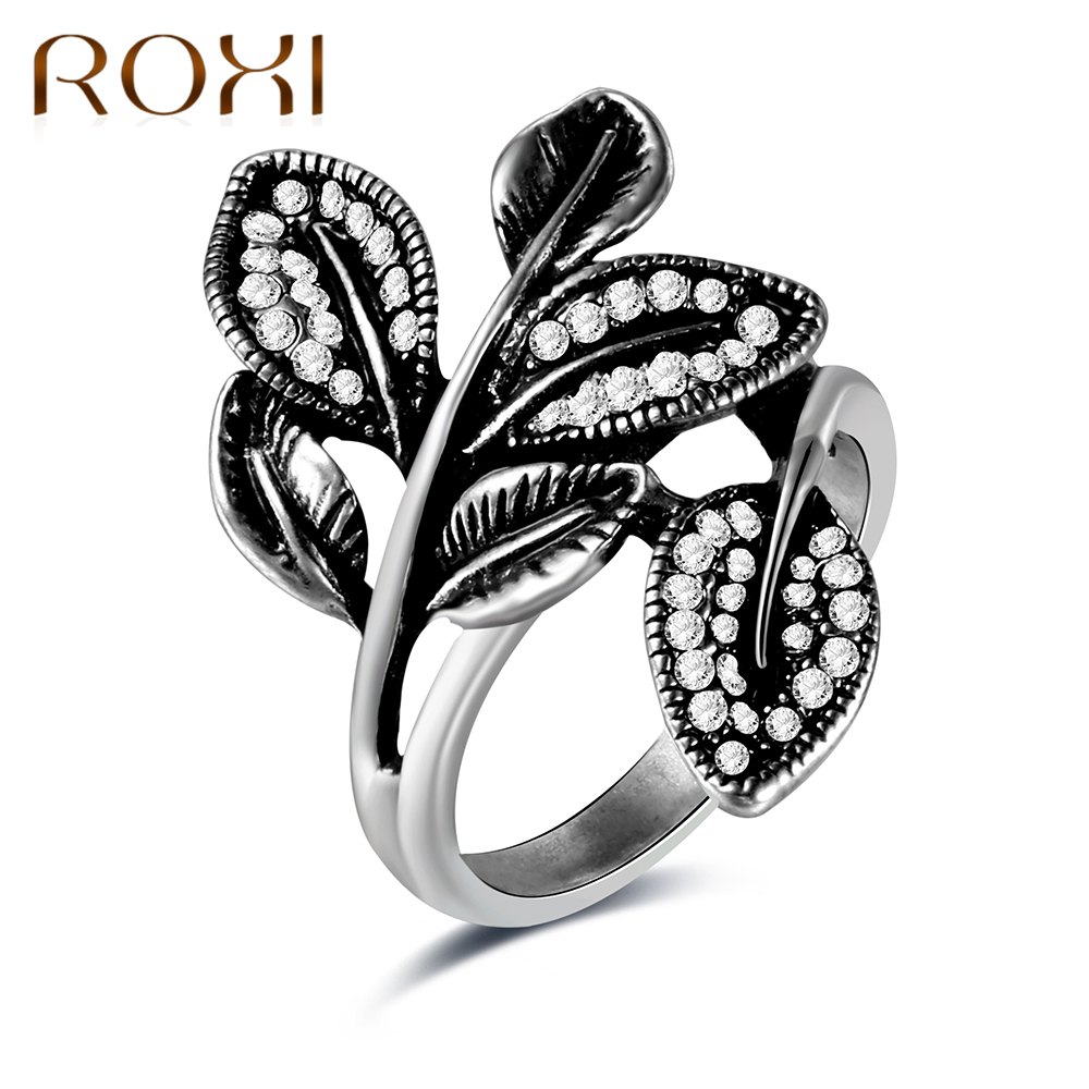 ROXI Retro Antique Silver Rings For Women Fashion Sparkling Leaves Silver Crystal Ring Wedding Party Jewelry bague femme 2017