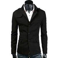 Di Modo caldo di Lana di Alta Qualità Mens Blazer Casual Slim Fit Cappotto del Rivestimento Del Vestito Degli Uomini di Affari Blazer Masculino Nero/Scuro grigio