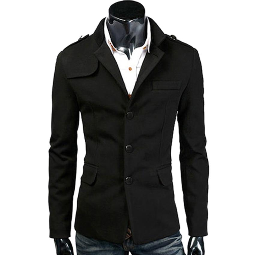 a5f47a9b7e5 Hot Fashion Top Quality Woolen Mens Casual Blazers Slim Fit Men Business Jacket  Coat Suit Blazer Masculino Black Dark Grey