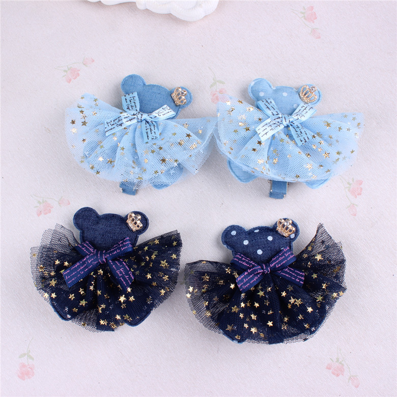 Europe and the United States hair ornaments cute bear hairpin children star network yarn side clip Meng head jewelry ...