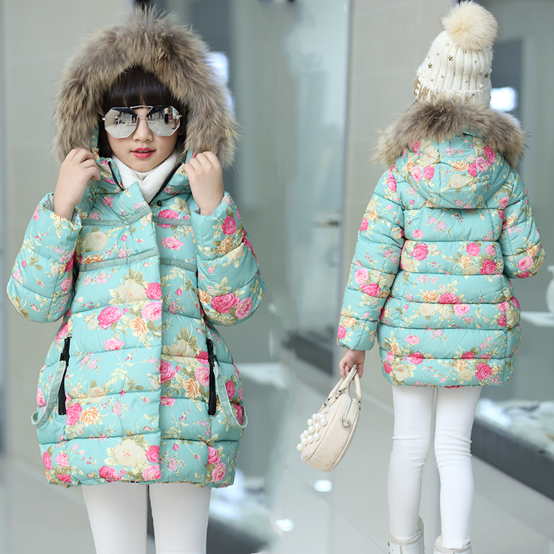 Winter Sweet Baby Girls Jacket Hooded Coat Fashion Flower Elegant Cotton-padded Clothes Warm Children Outerwear Kids Overcoat 2016 winter children clothes girls sports hooded cotton padded jacket coat for girls kids clothing long thick jackets outerwear