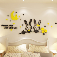 Cute Rabbits Design Acrylic Stickers For Kids Room Living Room School Decoration Birthday Xmas Gift