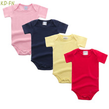 Newborn Clothes Summer Baby Infant Cotton Bodysuit 0-12M Short Sleeves Jumpsuit Pink White Black Blue Yellow Red Tiny Cottons