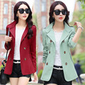 Donna Spring Autumn Women Jacket Elegant Candy Color Long Sleeve Jackets Turn-Down Lapel Collar Double-Breasted Overcoat W52S