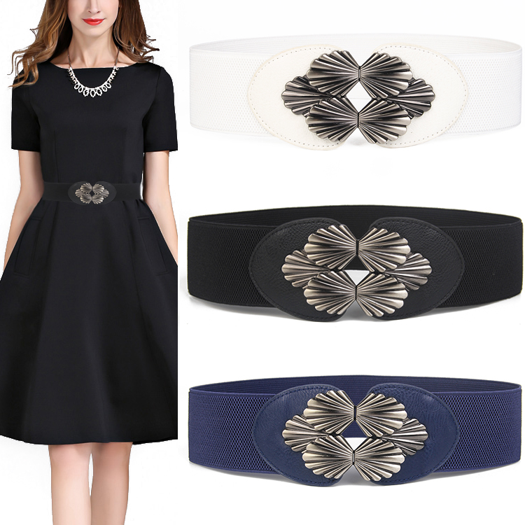 New Cummerbunds Stretch Black Sector Buckle Waistband For Women Fashion Dress Wedding Adornment Wide Cummerbund Blue White Lady