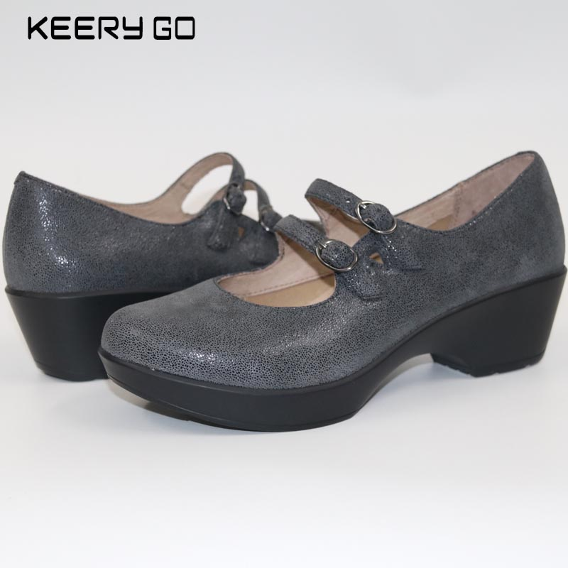 First layer of cowhide wedges women s shoes super comfortable single shoes leather 37 42