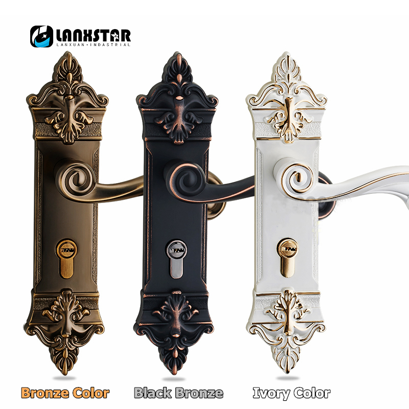 Luxury Style Bronze Solid Lockset Handle PVD Locker Interior Door Classical Mechanical Lock Handle factory interior door lock living room space aluminum mechanical lockset wholesale quality assuranced handle locks