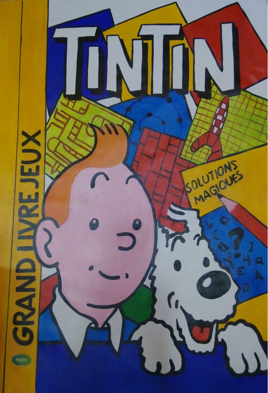 100 Hand Painted Modern Cartoon Oil Painting Canvas TinTin Wall Art Picture Living Room Decoration