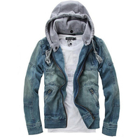 AASS Hot Autumn Winter Men Clothing Hooded Denim Jacket Outdoors Casual Jeans Coats Outerwear Blue L