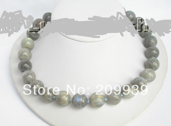 Huij 003466 authentique 100% labradorite naturelle collier de perle