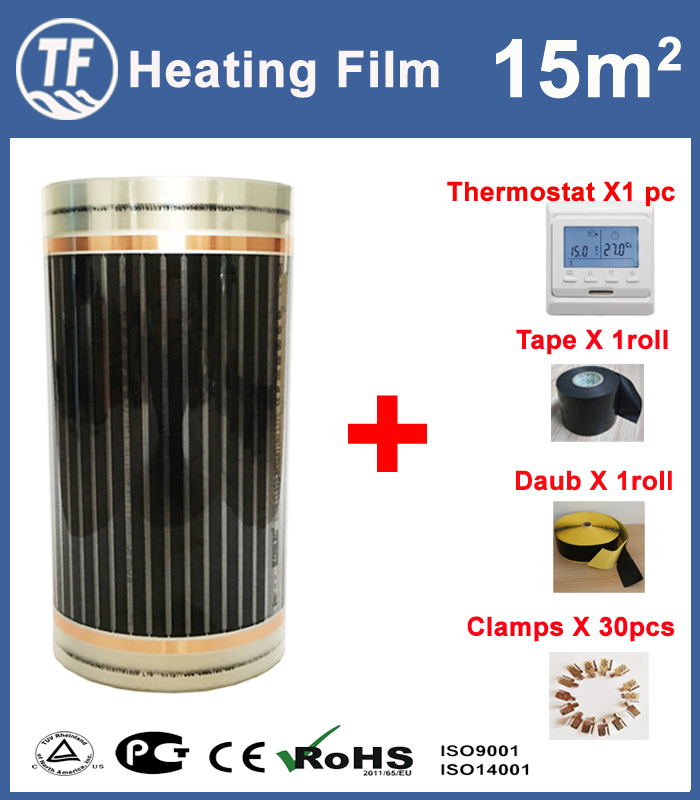 Hot Only $199-$215, 15 Sqm Length 30M Far Infrared Floor Heating Films With Accessories AC220V, 220W/Sqm Home Warming Pad