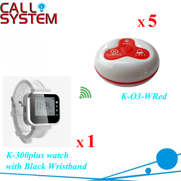 Hot sale customer call waiter wireless calling system 1 watch + 5 buttons wireless service call bell system popular in restaurant ce passed 433 92mhz full equipment watch pager 1 watch 7 call button