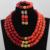 Romántica 3 Pasos Nigeriano Beads Boda Africanos Conjuntos de Joyas de Oro de Coral Rojo Nupcial de Jewlery Envío Libre CNR576