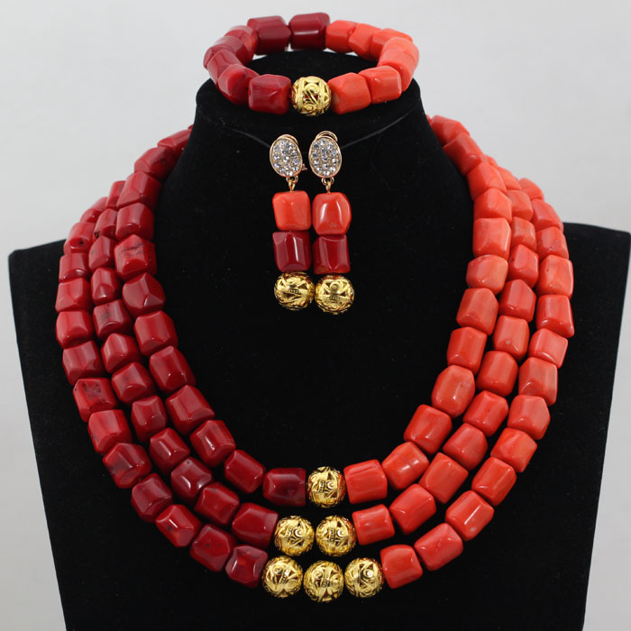 Romantic 3 Steps Red Coral African Wedding Beads Jewelry Sets New ...