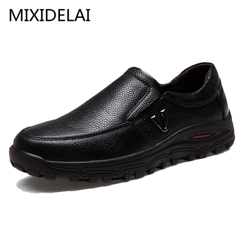 MIXIDELAI Men's Genuine Leather Shoes Business Dress Moccasins Flats Slip On New Men's Casual Shoes Dress Mens Business Shoes
