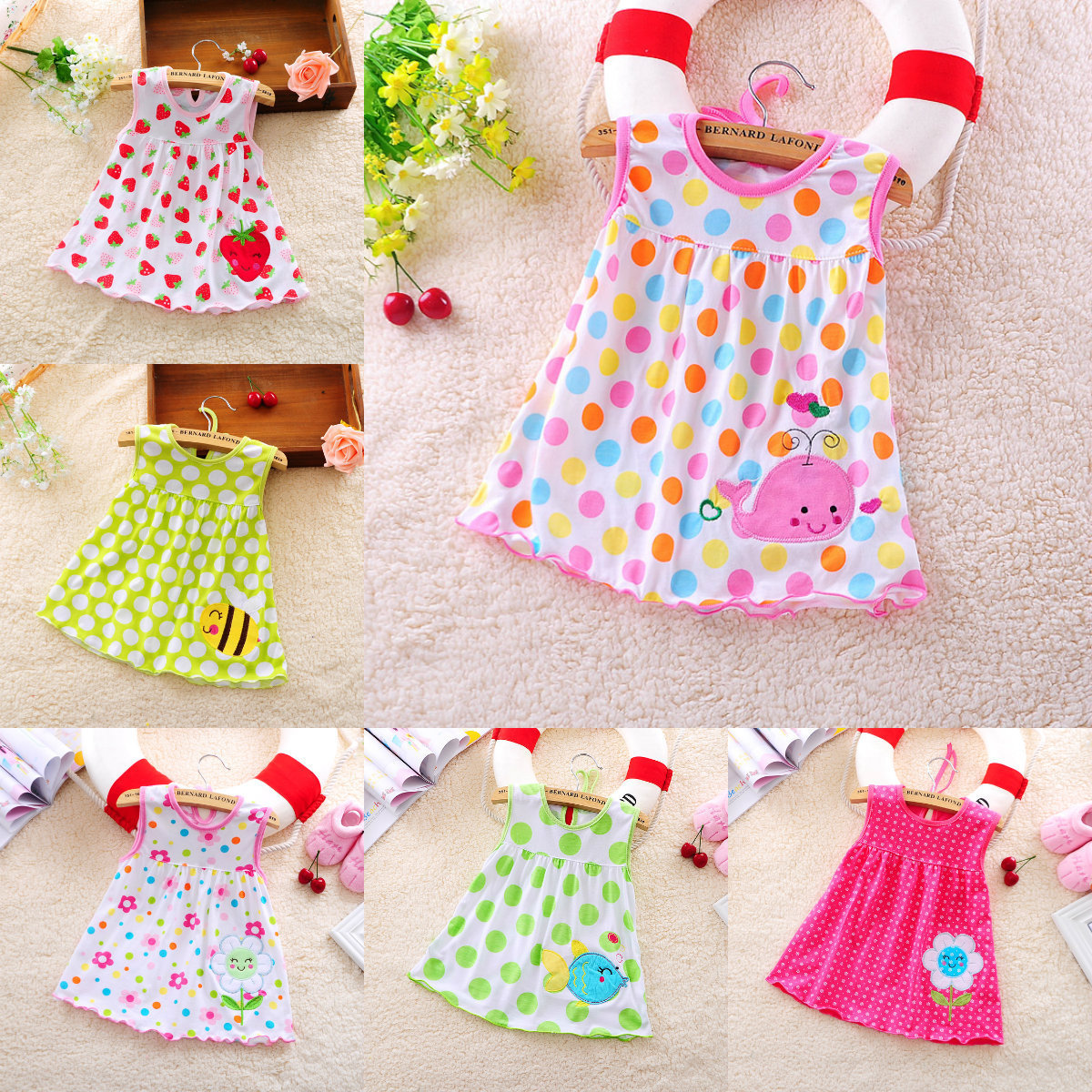 Summer Infant Baby Girls Cotton Colorful Dress Embroidered Sleeveless Princess Dress Cute Simple Dot Girls Clothes 0-24 Months