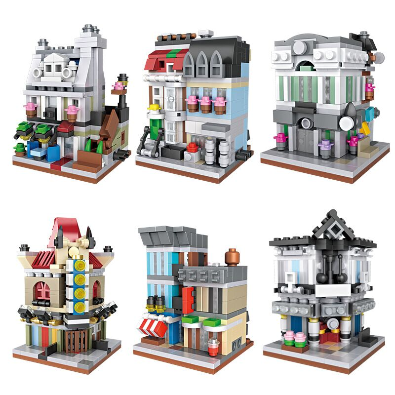 City Street Architecture Mini Banking House Pet Shop Restaurant Theatre Cinema Building Brick Blocks Children Gift Kids Toys loz street view architecture building brick 303pcs
