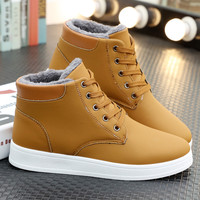 Men Winter Ankle Boots Lace Up Sneakers Plush Inside Snow Boot Antiskid Casual Shoes Bottes