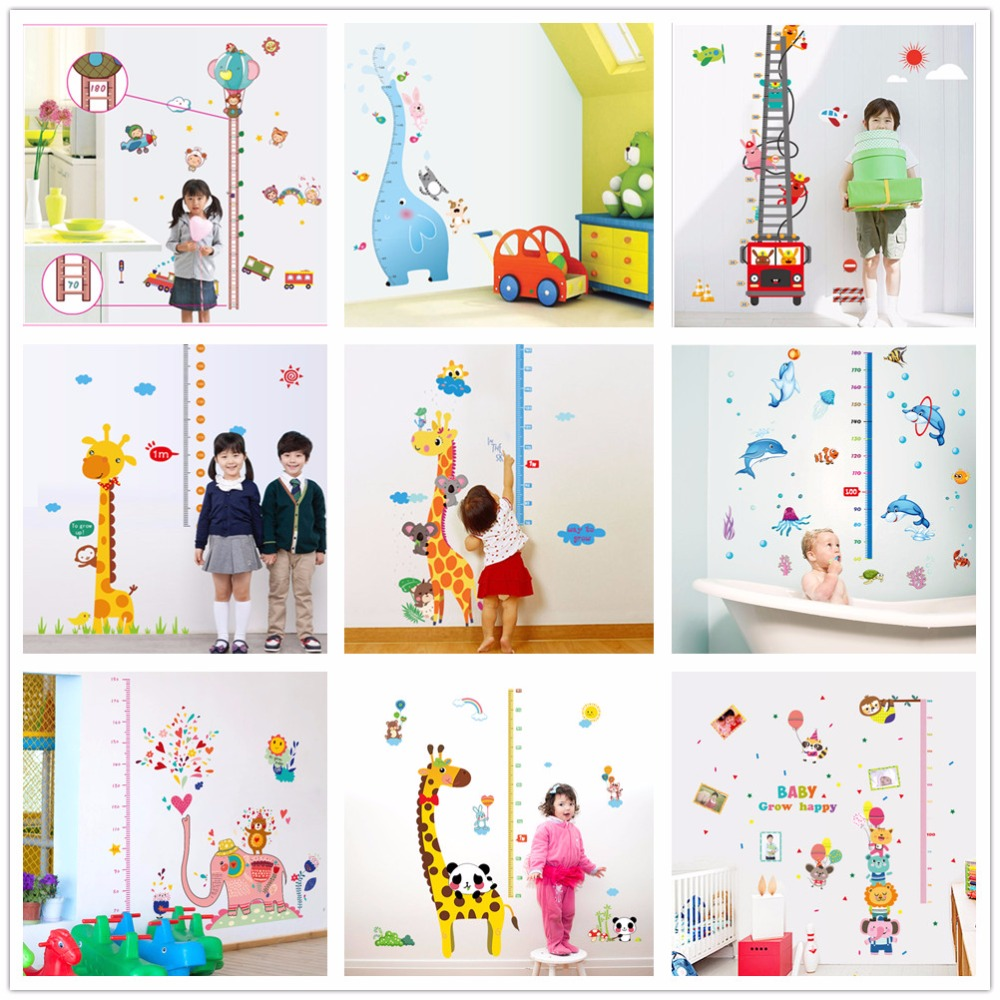 Solar System Rocket Height Measure Wall Stickers Kids Rooms Outer Space Sky Poster Growth Chart Pvc Mural Decor Wall Art