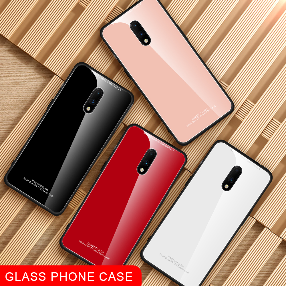 LISM Fashion Simple Luxury Plain Tempered Glass Phone Case Cover For font b Oneplus b font