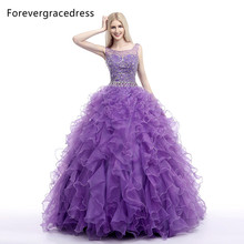 Forevergracedress Real Photo Ruffles Purple Quinceanera Dress Scoop Beads Organza Long With Lace Up Formal Party Dress Plus Size