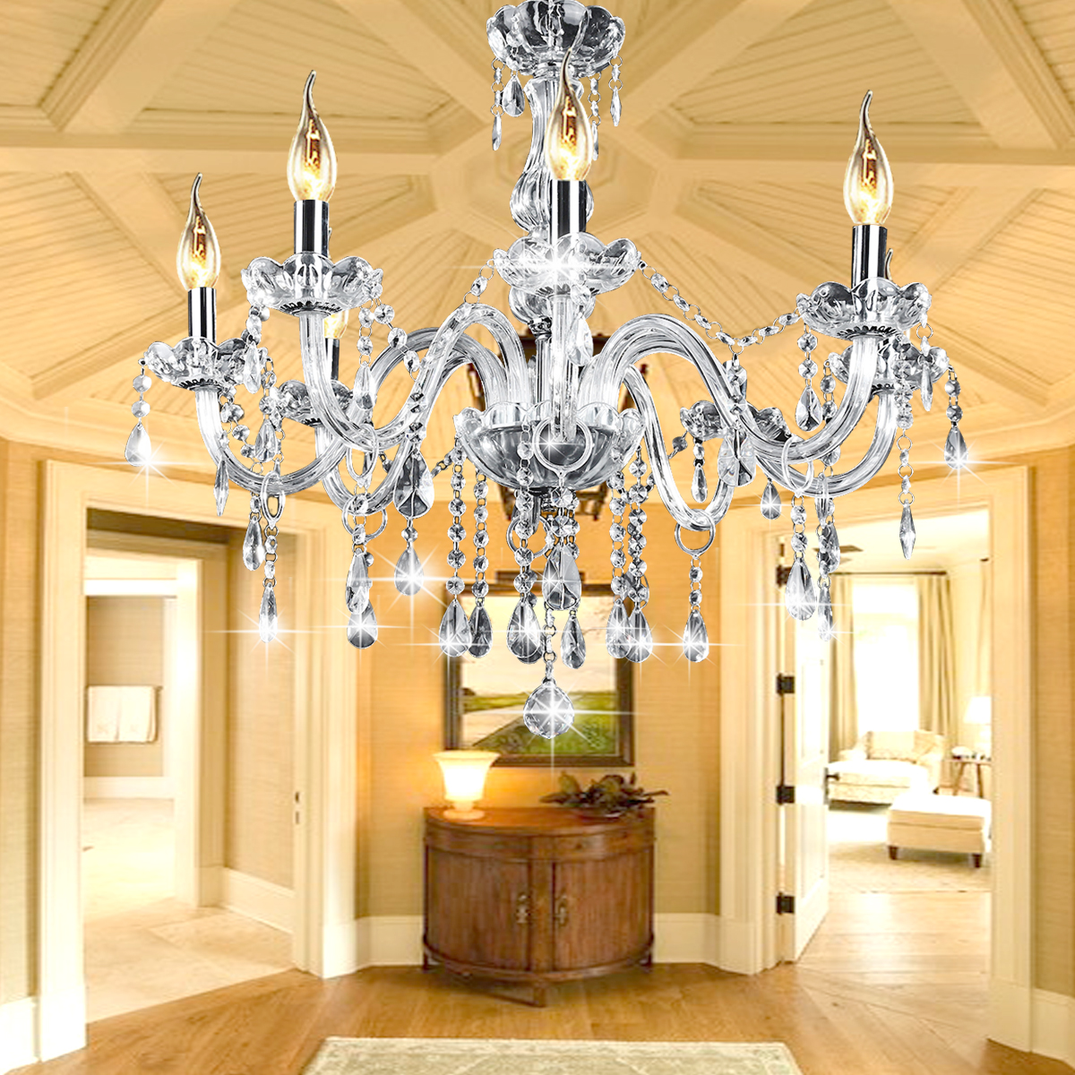 AC110-240V 8 Heads E12 Clear Crystal Chandelier Light Modern Chandeliers Crystal Light Fixture Bedroom Hanging m17 new outdoor portable bluetooth speaker 15w subwoofer multi functional card insert microphone speaker wireless stereo