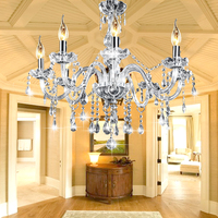AC110 240V 8 Heads E12 Clear Crystal Chandelier Light Modern Chandeliers Crystal Light Fixture Bedroom Hanging