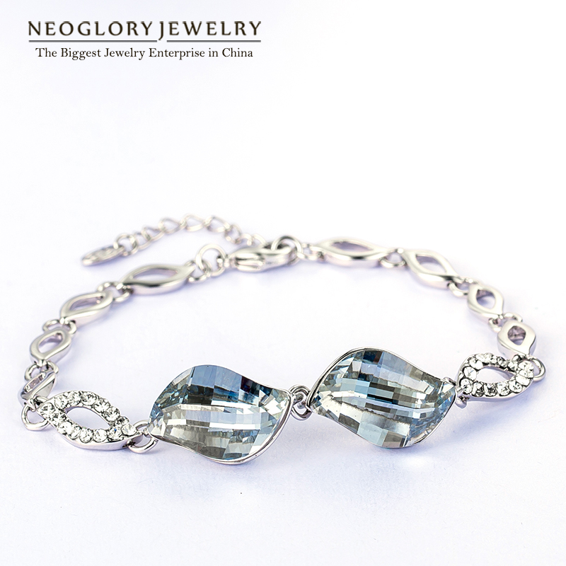 Neoglory Jewelry MADE WITH SWAROVSKI ELEMENTS Crystal Champagne Gold Color Bracelets & Bangles For Women Girl Friend 2018 New