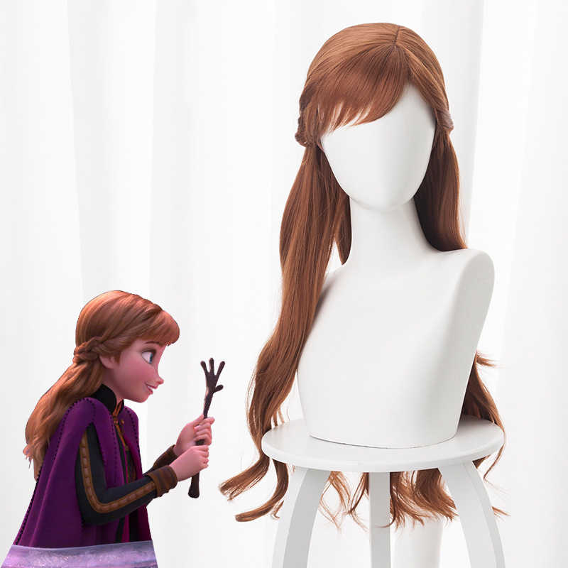 2019 Anime Frozen 2 Princess Anna Cosplay Hair 70CM Brown Cosplay Headwear Heat Resistant Synthetic Perucas