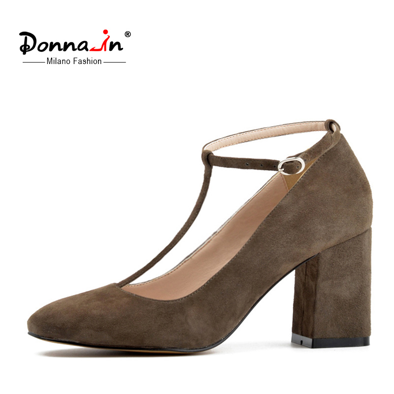 Donna In New Collection Patent Leather Shoes Fashion Square Toe High Heel Women Shoes Genuine