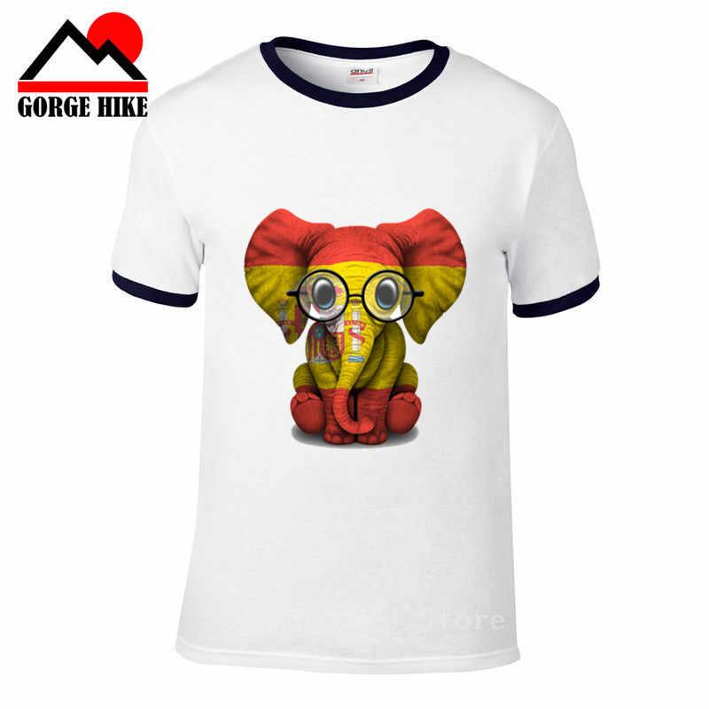 Animales gafas bebé elefante España bandera huella digital divertida camiseta hombres talento manga corta Oneck algodón camiseta hombre