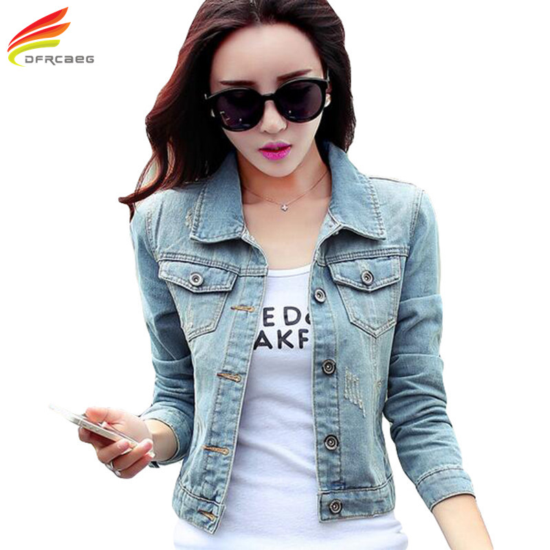 Short Denim Jacket Women 2017 Casual Blue Slim Pockets Button Single Breasted Female <font><b>Jeans</b></font> Jackets Coat Women jaqueta feminina