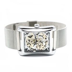 Image 4 - רטרו Mens שלד יד רוח מכאני שעונים שעוני יד לנשים שעונים מלבן שעון יוקרה להקת נירוסטה
