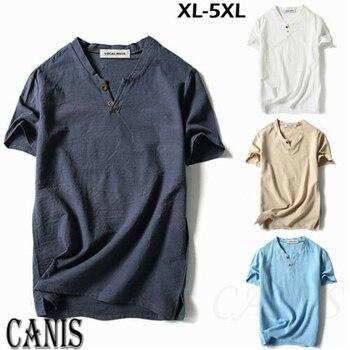 T-shirt Men V Neck T Shirts For Men Summer Men Baggy T Shirt Cotton Linen Tee Hippie Shirts Short Sleeve Yoga Top