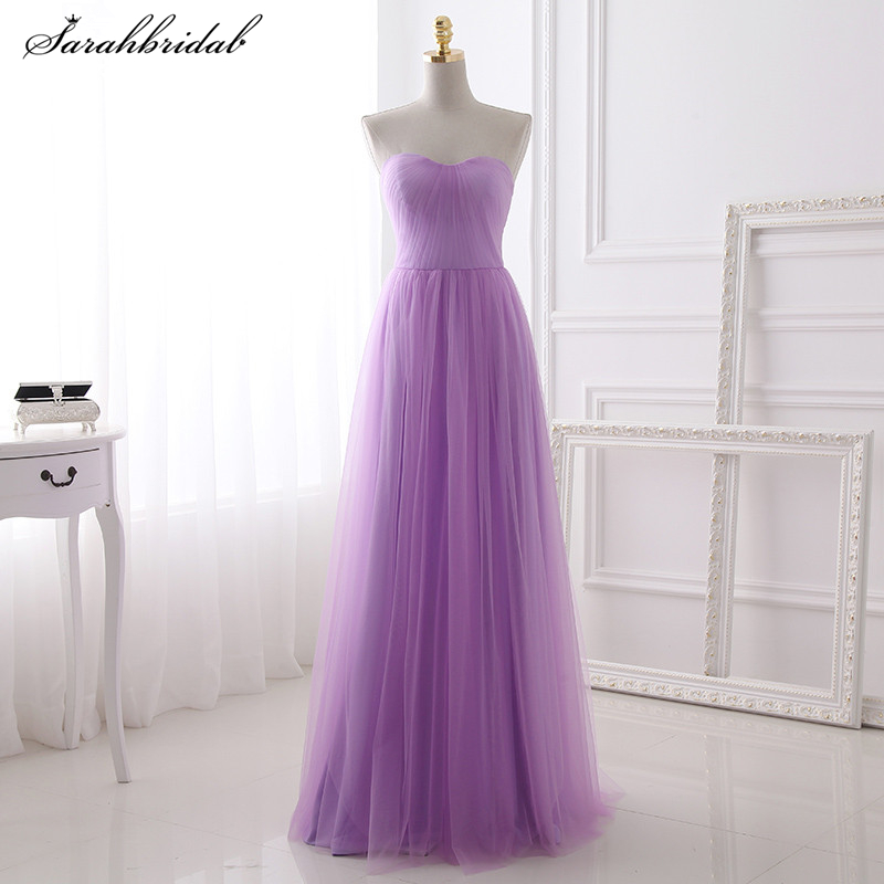 New Arrivals Lilac   Bridesmaid     Dresses   A Line Sleeveless Tulle Vestidos De Baile Sashes Customized Pron   Dresses   Gowns SLD392