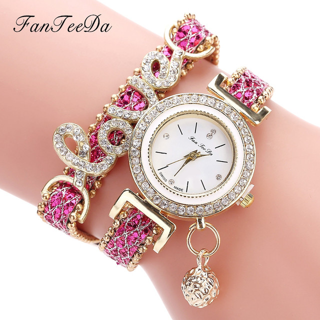 FanTeeDa Women's Fashion Love Word Leather Strap Bracelet Ladies Quartz Watches 4