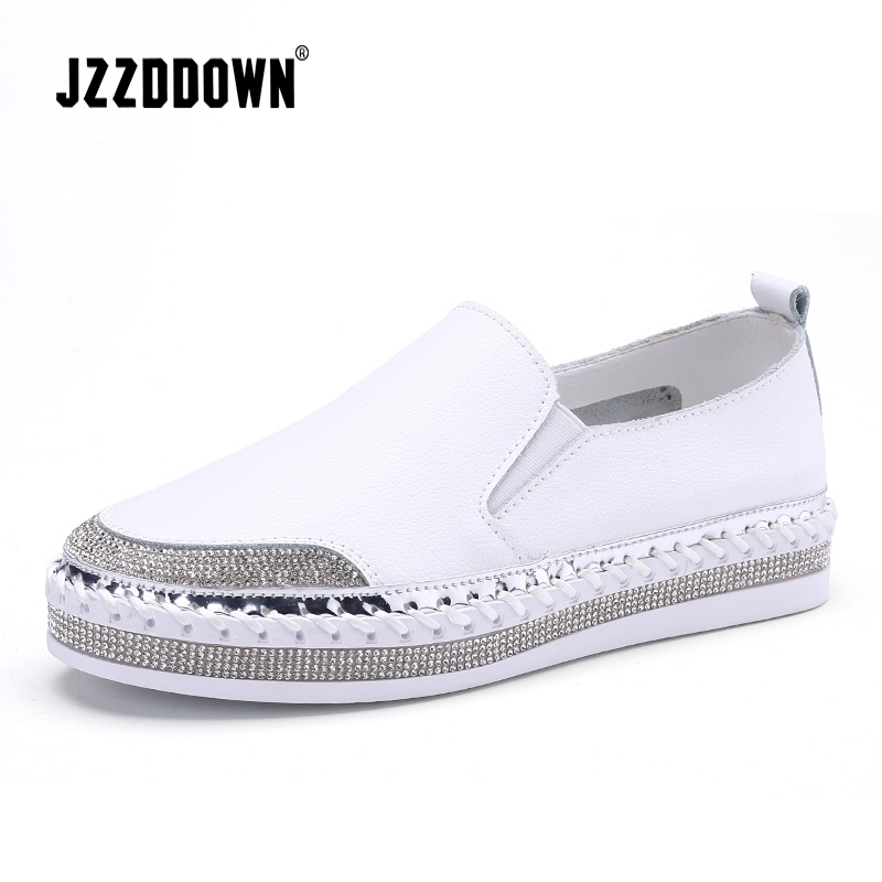 aac940220f86e JZZDDOWN Genuíno Couro Branco Tênis Planas Mulheres Primavera Senhoras  Sapato De Couro Macio Sapatos Casuais Mulheres