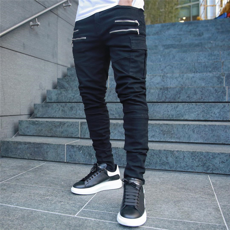 Hirigin 2019 New Men's  Casual Long Zipper Pants Fitness  Workout  Trousers
