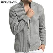 Hee Grand/мужская повседневная Стиль свитер воротник весь хлопок Материал Тонкий Встроенная осень кардиган на молнии плюс Размеры M-3XL MZM509