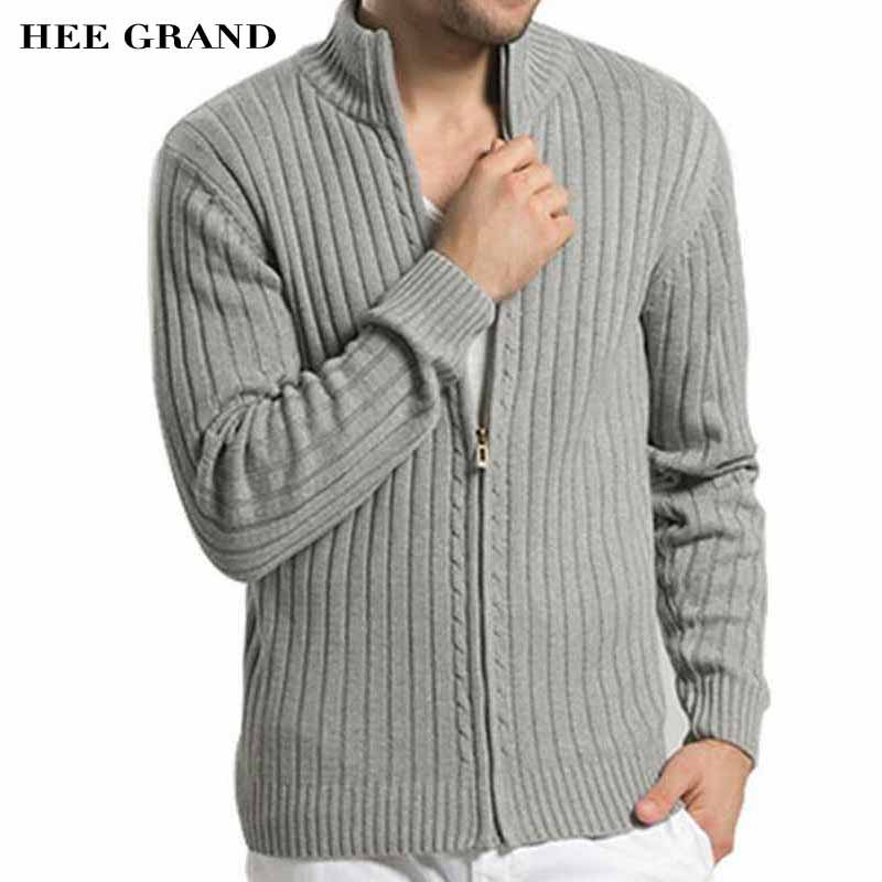 HEE GRAND Men Casual Style Sweater Stand Collar Whole Cotton Material Slim Fitted Autumn Zipper Cardigan Plus Size M-3XL MZM509 ...