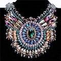 Женщины шарм ювелирных изделий подвеска сеть кристалл коренастый себе нагрудник ожерелье кристалла