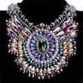 Women Charm Jewelry Pendant Chain Crystal Chunky Statement Bib Crystal Necklace