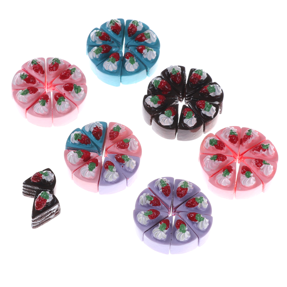10PCS Kawaii Flat Back DIY Miniature Artificial Fake Food Cake Resin Cabochon Decorative Craft Kitchen Toys Play Doll House Toy