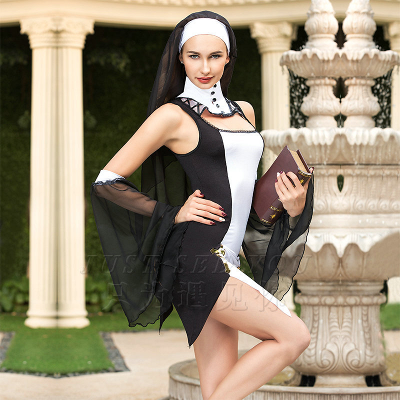 Virgin Mary Nuns Costumes for Women Sexy Long Black Nuns Costume Arabic Religion Clubwear Role Play Adult Game Fancy DRess